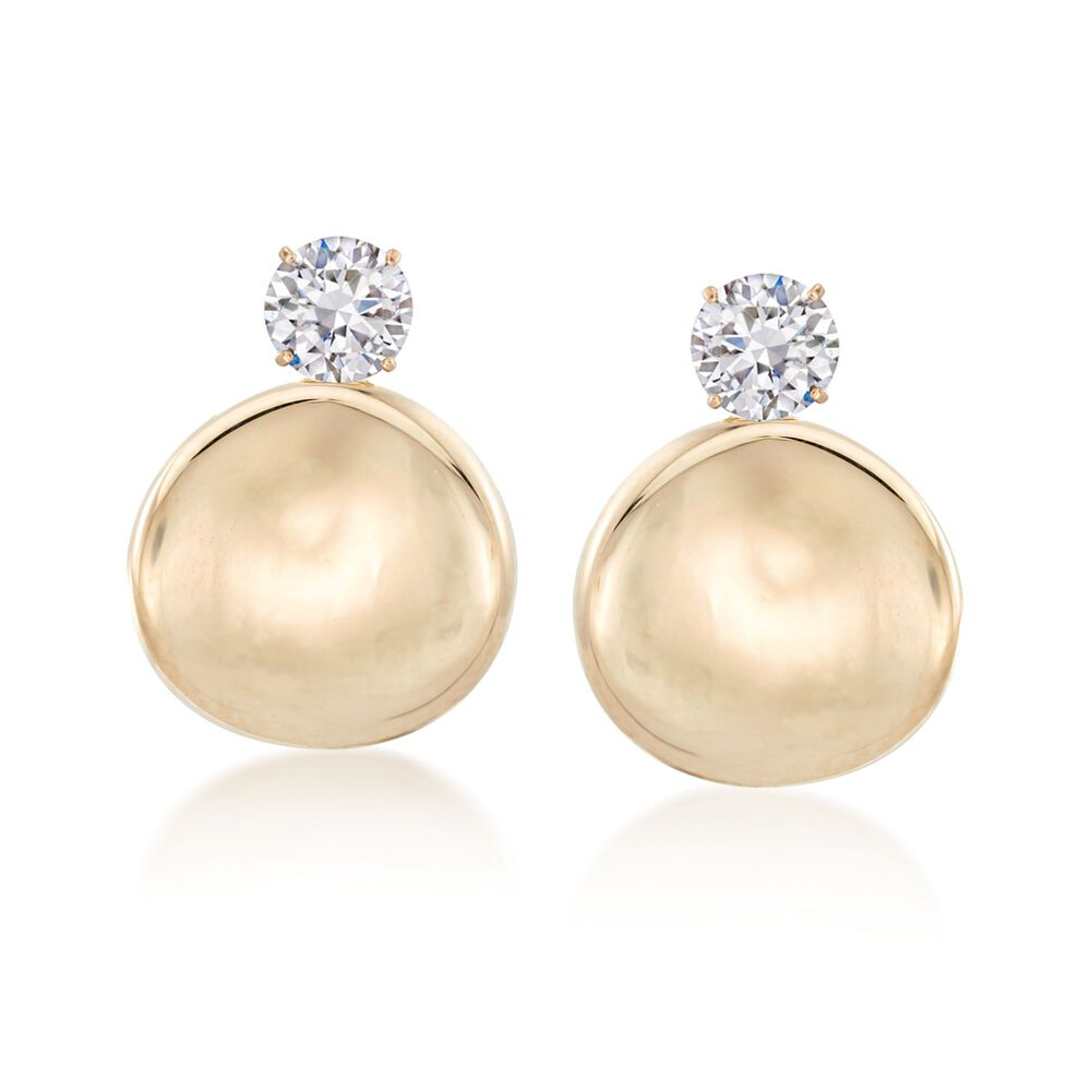 14kt Yellow Gold Concave Pee Disc Drop Earring Jackets