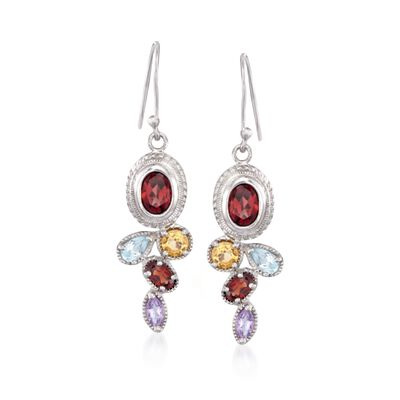 3.50 ct. t.w. Multi-Stone Drop Earrings in Sterling Silver