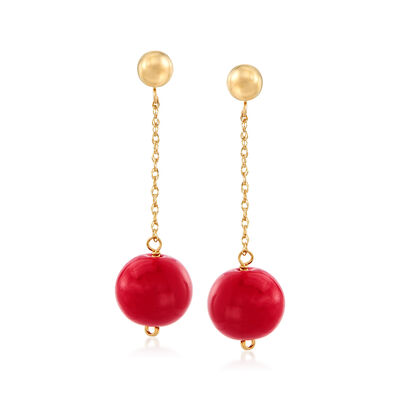 10.5-11mm Red Coral Bead Drop Earrings in 14kt Yellow Gold