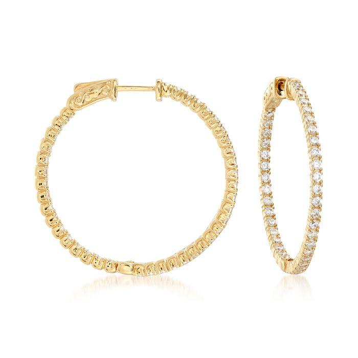 """2.00 ct. t.w. CZ Inside-Outside Hoop Earrings in 18kt Gold Over Sterling. 1 1/4"""", , default"""