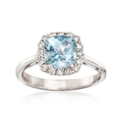 1.40 Carat Aquamarine and .30 ct. Tw. Diamond Ring in 14kt White Gold, , default