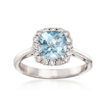 1.40 Carat Aquamarine and .30 ct. Tw. Diamond Ring in 14kt White Gold, , default
