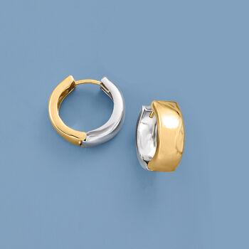 "Sterling Silver and 14kt Yellow Gold Reversible Huggie Hoop Earrings. 1/2"""