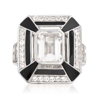 2.60 ct. t.w. White Topaz and Black Enamel Ring in Sterling Silver, , default