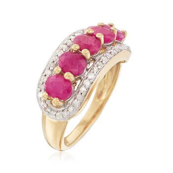 2.50 ct. t.w. Ruby and .25 ct. t.w. Diamond Ring in 14kt Gold Over Sterling, , default