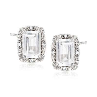 1.30 ct. t.w. White Topaz Stud Earrings with Diamond Accents in Sterling Silver