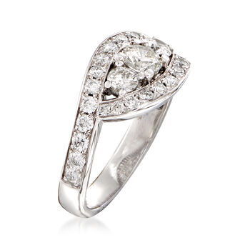 C. 1990 Vintage 1.10 ct. t.w. Diamond Cocktail Ring in 18kt White Gold. Size 5
