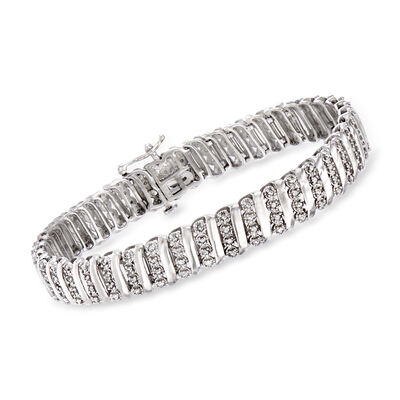 1.00 ct. t.w. Diamond Link Bracelet in Sterling Silver