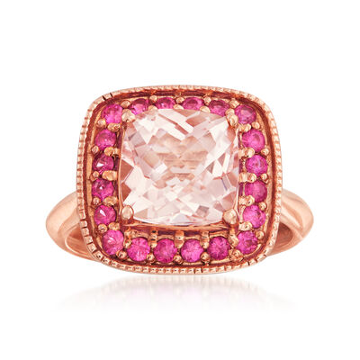 C. 2000 Vintage 1.70 Carat Morganite and .70 ct. t.w. Ruby Ring in 14kt Rose Gold, , default