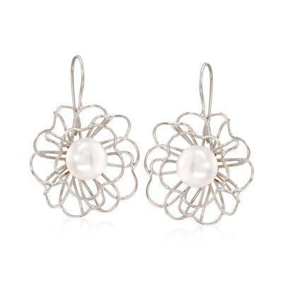12mm Cultured Pearl Openwork Floral Drop Earrings in Sterling Silver, , default