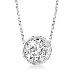 .62 Carat Bezel-Set Diamond Solitaire Necklace in 14kt White Gold, , default
