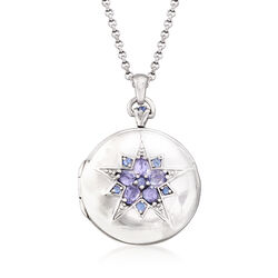 .92 ct. t.w. Multi-Stone Two-Photo Round Locket in Sterling Silver, , default