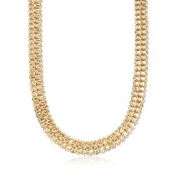 "18kt Yellow Gold Over Sterling Silver Double-Link Necklace. 20"", , default"