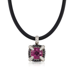 """C. 2000 Vintage 13.10 Carat Pink Rubellite and 1.00 ct. t.w. Diamond Pendant Necklace in 18kt White Gold With Sapphires. 16"""", , default"""