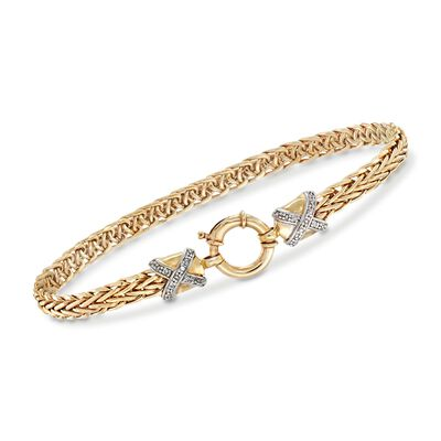 14kt Yellow Gold Wheat-Link Bracelet With Diamond X Motifs, , default