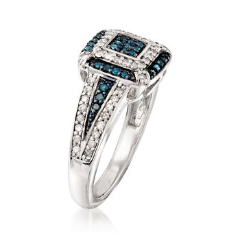 .49 ct. t.w. Blue and White Diamond Ring in Sterling Silver