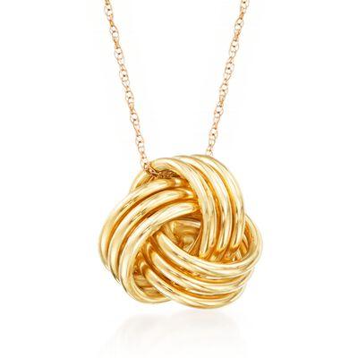 14kt Yellow Gold Love Knot Pendant Necklace, , default