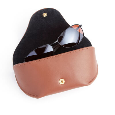 Royce Tan Leather Sunglasses Case
