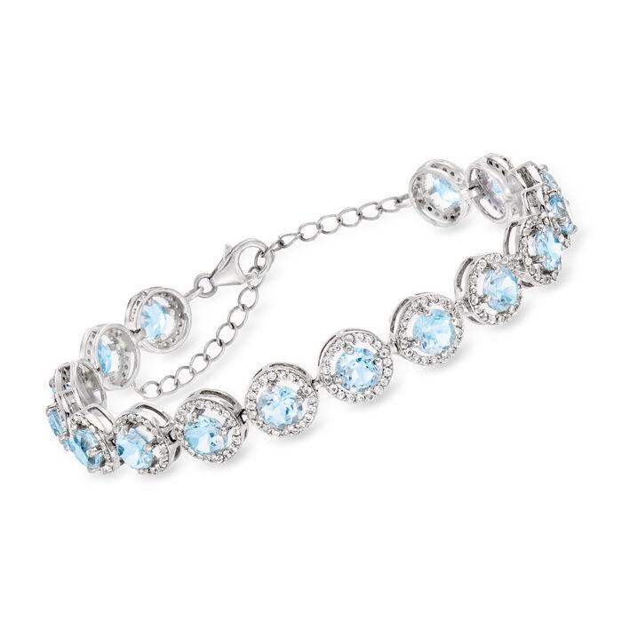 12.00 ct. t.w. Sky Blue Topaz and 2.60 ct. t.w. White Topaz Bracelet in Sterling Silver