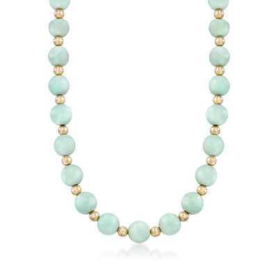 Faceted Amazonite and 14kt Yellow Gold Bead Necklace, , default