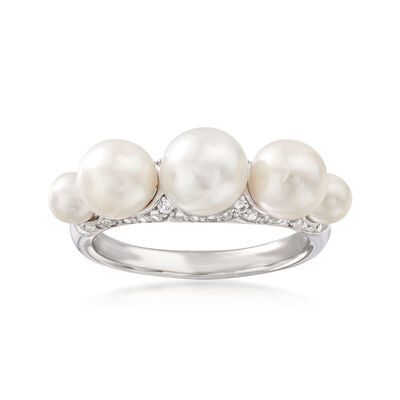4-7.5mm Cultured Pearl and .30 ct. t.w. White Topaz Ring in Sterling Silver, , default