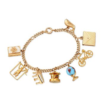 """C. 1970 Vintage 14kt Yellow Gold Charm Bracelet With Mother-Of-Pearl and Blue Glass. 7"""", , default"""