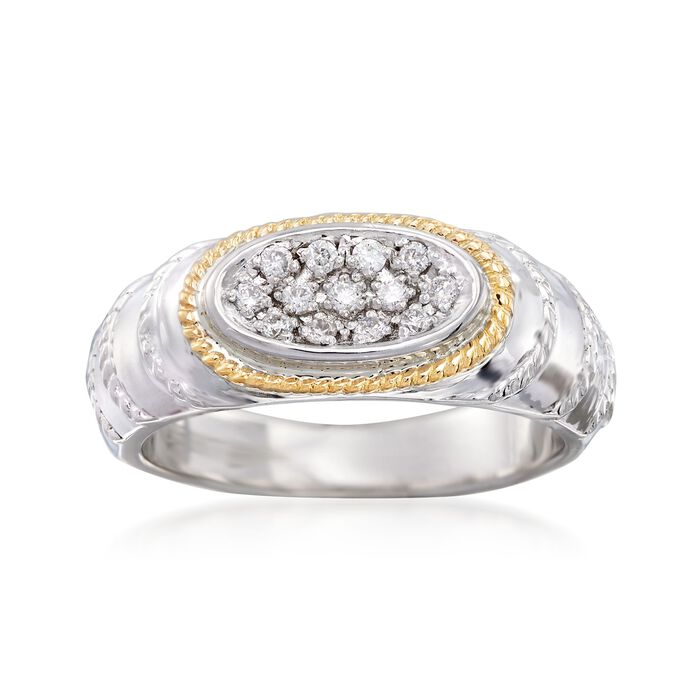 """Andrea Candela """"Eco"""" .15 ct. t.w. Diamond Ring in 18kt Yellow Gold and Sterling Silver"""