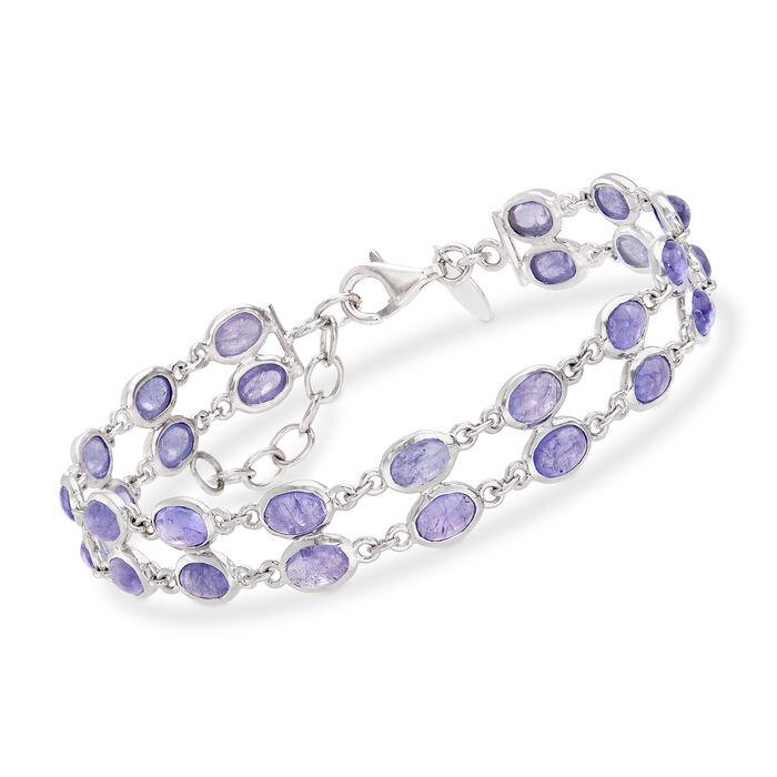 16.00 ct. t.w. Tanzanite Double Row Bracelet in Sterling Silver, , default