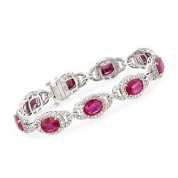 "19.00 ct. t.w. Ruby and 4.95 ct. t.w. Diamond Bracelet in 14kt White Gold. 7"", , default"