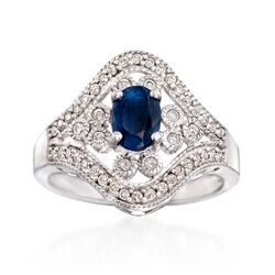 .90 Carat Sapphire and .34 ct. t.w. Diamond Ring in Sterling Silver, , default