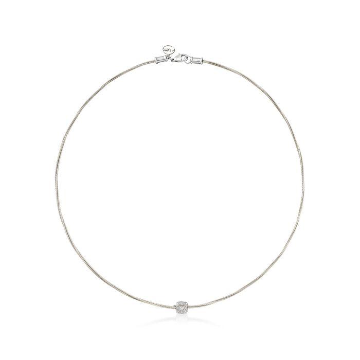 """ALOR """"Classique"""" Diamond Station Grey Cable Necklace"""
