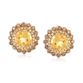 2.50 ct. t.w. Citrine and .82 ct. t.w. Brown and White Diamond Earrings in 14kt Yellow Gold, , default