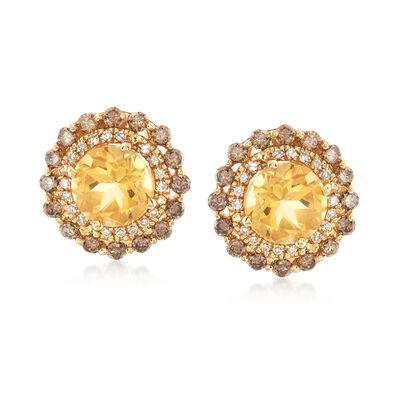 2.50 ct. t.w. Citrine and .82 ct. t.w. Brown and White Diamond Earrings in 14kt Yellow Gold , , default