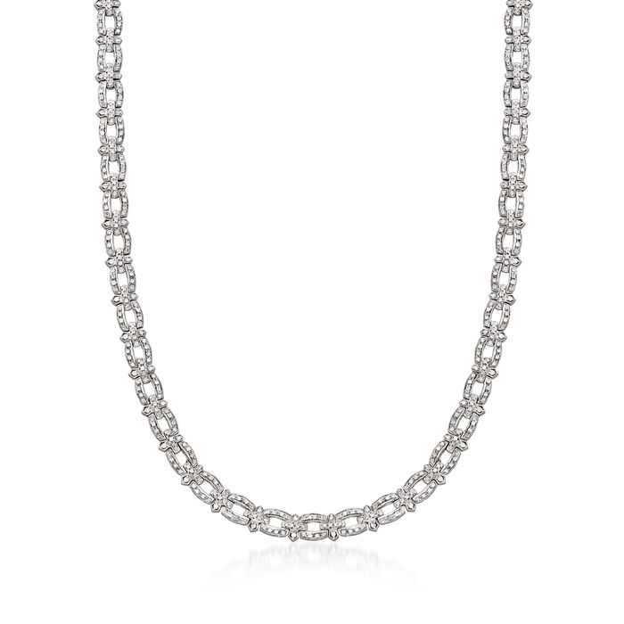 C. 1990 Vintage 5.00 ct. t.w. Diamond-Link Necklace in 14kt White Gold