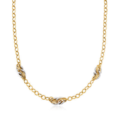 Italian 18kt Two-Tone Gold Multiple Link Necklace, , default