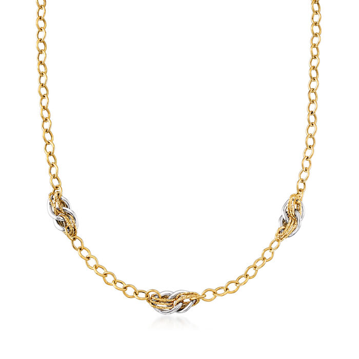 """Italian 18kt Two-Tone Gold Multiple Link Necklace. 18"""", , default"""