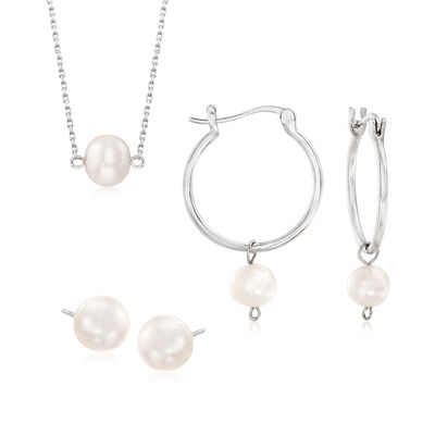 6-8.5mm Cultured Pearl Jewelry Set: Necklace, Stud and Hoop Earrings in Sterling Silver