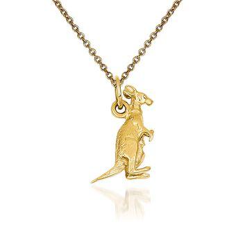 "14kt Yellow Gold Kangaroo Pendant Necklace. 18"", , default"