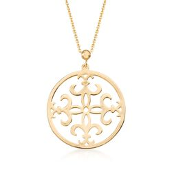 "14kt Yellow Gold Fleur-De-Lis Pendant Necklace. 17"", , default"