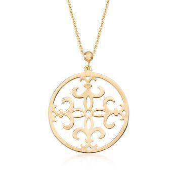 """14kt Yellow Gold Fleur-De-Lis Pendant Necklace. 17"""", , default"""