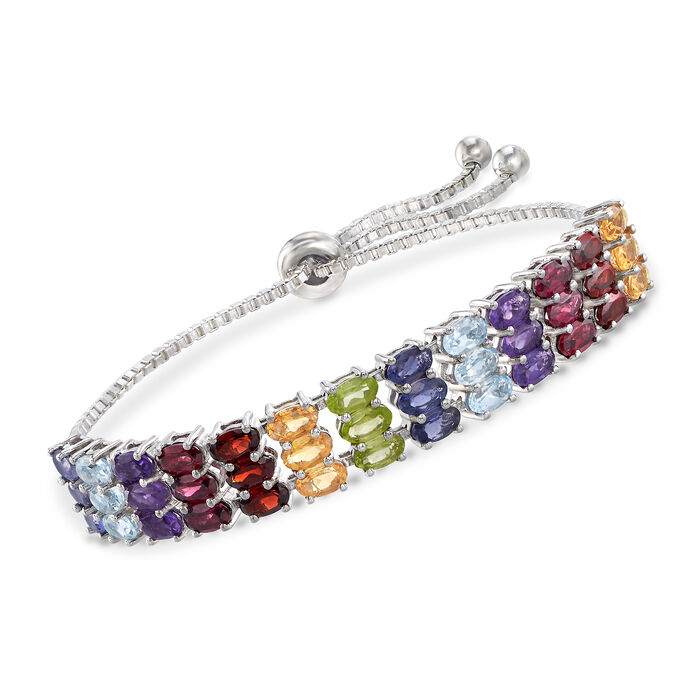 7.80 ct. t.w. Multi-Stone Bolo Bracelet in Sterling Silver , , default