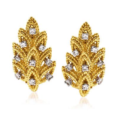 C. 1980 Vintage .55 ct. t.w. Diamond Leaf Earrings in 18kt Yellow Gold