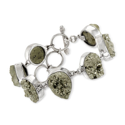C. 1980 Vintage Gray Pyrite Nugget Bracelet in Sterling Silver, , default