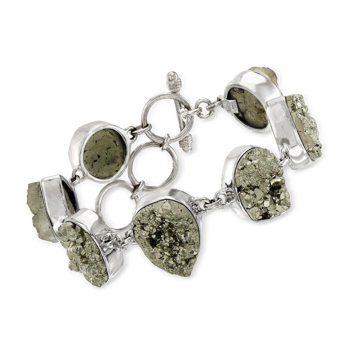 "C. 1980 Vintage Gray Pyrite Nugget Bracelet in Sterling Silver. 7.5"""