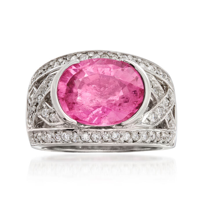 C. 1990 Vintage 5.25 Carat Pink Tourmaline and .75 ct. t.w. Diamond Ring in 18kt White Gold. Size 6.5