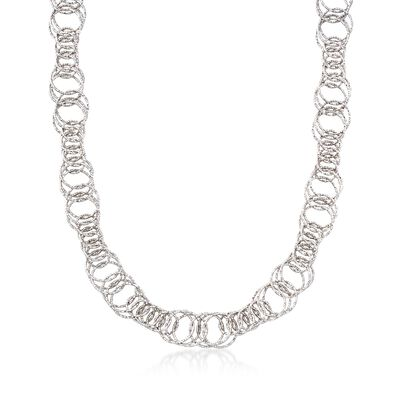 Italian Sterling Silver Textured Multi-Link Necklace, , default
