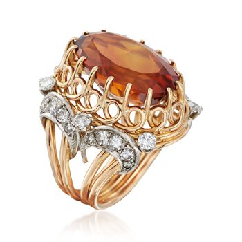 C. 1960 Vintage 11.50 Carat Citrine and 1.10 ct. t.w. Diamond Ring in 18kt Two-Tone Gold. Size 5.5, , default