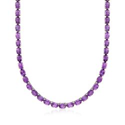 40.00 ct. t.w. Amethyst Tennis Necklace in Sterling Silver, , default
