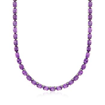 "40.00 ct. t.w. Amethyst Tennis Necklace in Sterling Silver. 18"", , default"
