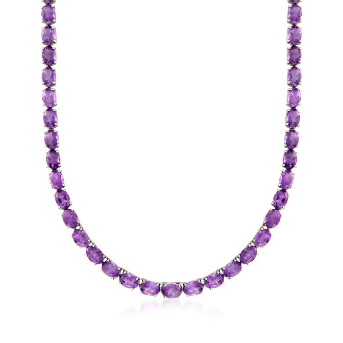 """40.00 ct. t.w. Amethyst Tennis Necklace in Sterling Silver. 18"""", , default"""